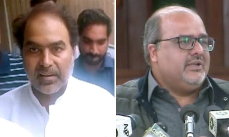 This combo photo shows PTI MPA Nazir Chohan (left) and prime minister's adviser Shahzad Akbar. — DawnNewsTV/File