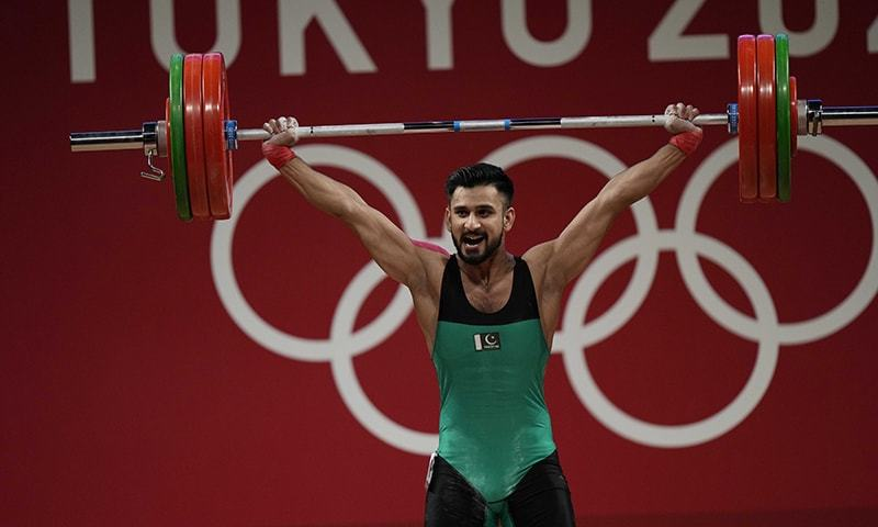 Talha Talib competes in the men's 67 kilogramme weightlifting event at the 2020 Summer Olympics in Tokyo, Japan, July 25. — AP/File