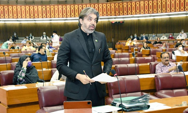Minister of State for Parliamentary Affairs Ali Muhammad Khan responds to questions by the opposition members on behalf of Finance Minister Shaukar Tarin during the question hour in the National Assembly on Monday. — Photo courtesy National Assembly Twitter