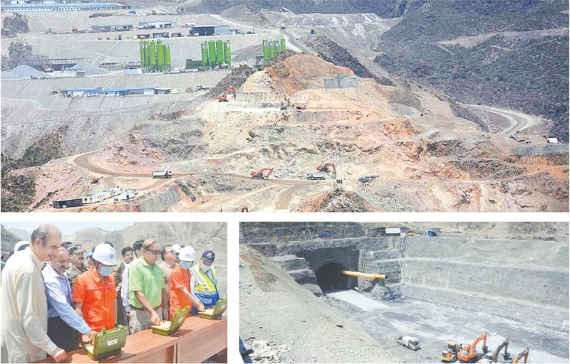 (Clockwise) Construction work in progress at the site of Mohmand Dam and its tunnel. Wapda chairman Muzammil Hussain inaugurating a process to connect the two ends of a tunnel on Monday. According to Wapda, the process will lead towards completion of the dam's river diversion system.—APP