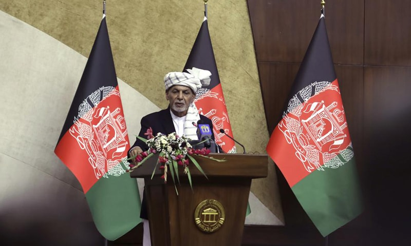 Afghan President Ashraf Ghani speaks at the extraordinary meeting of the Parliament in Kabul, Afghanistan, on Monday. — AP