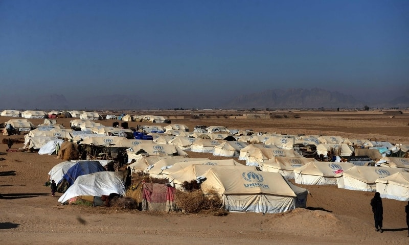 In this file photo a general view shows tents at a camp for internally displaced families in Dand district of Kandahar province on January 7. — AFP