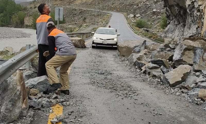 This file photo shows a road damaged due to land sliding in Gilgit-Baltistan. — Photo by Imtiaz Ali Taj