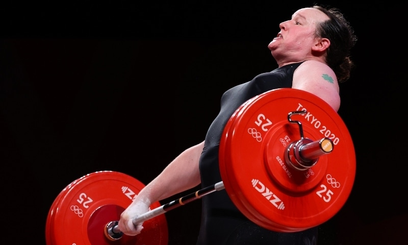 Laurel Hubbard of New Zealand in action  on Monday. — Reuters