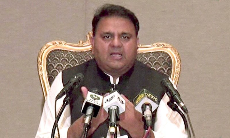 Federal Minister for Information and Broadcasting Fawad Chaudhry addresses a press conference in Islamabad on Tuesday. — DawnNewsTV