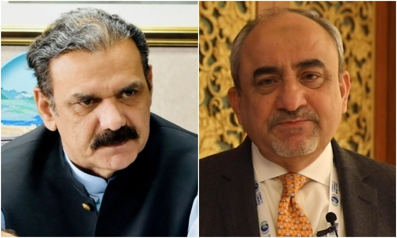Outgoing CPEC Authority chairman retired Lt Gen Asim Saleem Bajwa and newly appointed SAPM on CPEC Affairs Khalid Mansoor. — RadioPak/File
