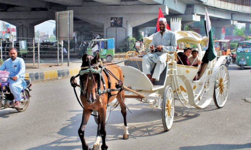 Children of martyred police personnel enjoy a ride in a buggy as the City Traffic Police organised an event in Peshawar on Tuesday in connection with the martyrs day. — White Star