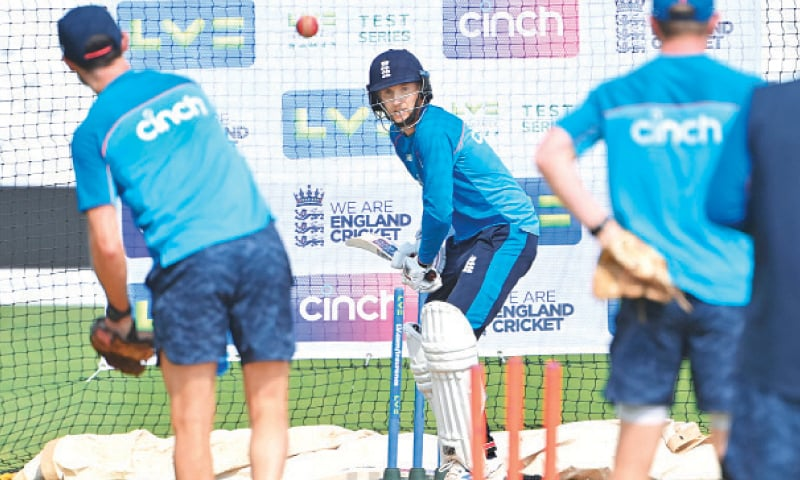 NOTTINGHAM: England captain Joe Root bats in the nets during a training session at Trent Bridge on Tuesday. —AFP