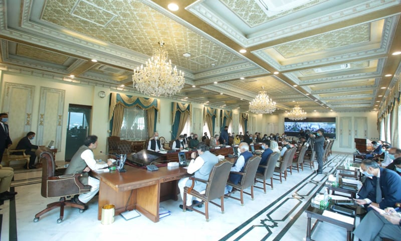 Prime Minister Imran Khan presides over a cabinet meeting on Tuesday. — Photo courtesy: Prime Minister's Office/Twitter