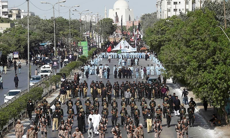 In this file photo, Pakistani security personnel patrol are deployed during a Muharram procession in Karachi. — AFP/File