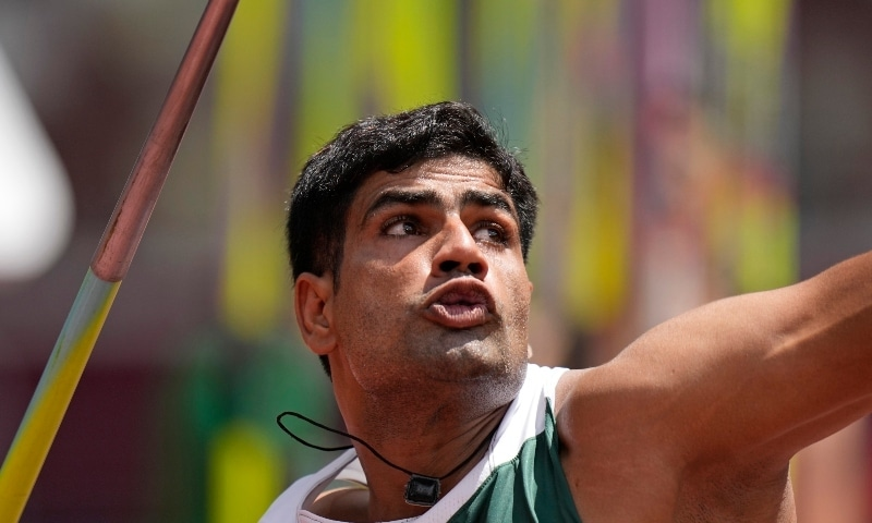 Arshad Nadeem, of Pakistan, competes in the qualification round of the men's javelin throw at the 2020 Summer Olympics on Aug 4.  — AP