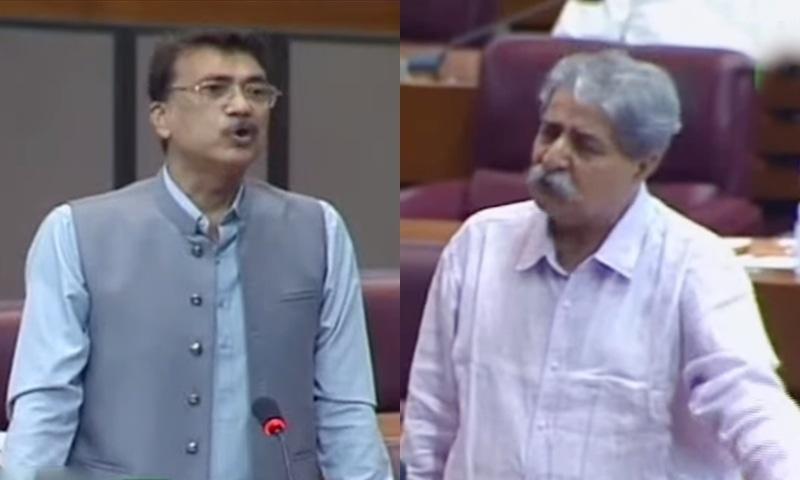 Muttahida Qaumi Movement-Pakistan MNA Usama Qadri (L) and PPP MNA Syed Naveed Qamar speak in Tuesday's National Assembly session. — DawnNewsTV