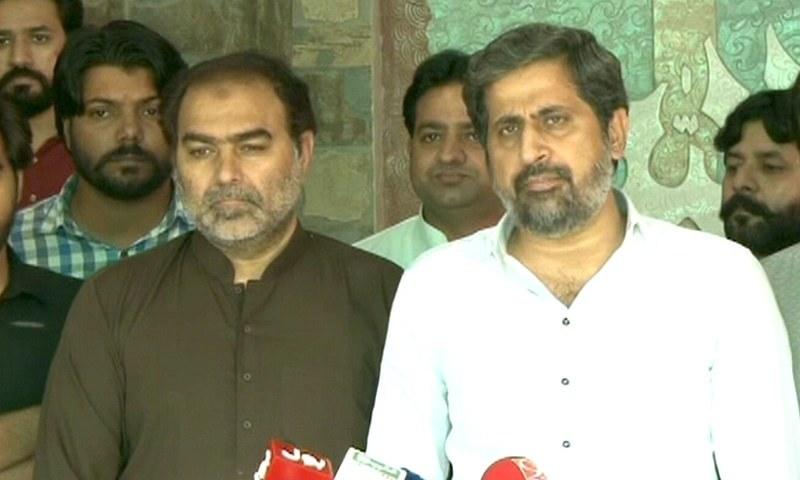 PTI MPA Nazir Chohan (L) speaks to the media alongside Punjab Prisons Minister Fayyaz Chohan on Wednesday. — DawnNewsTV