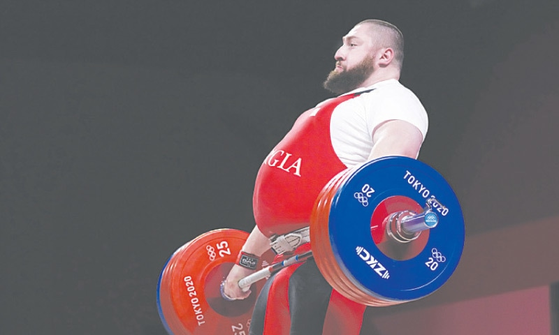 LASHA Talakhadze of Georgia competes in the men's +109kg weightlifting event on Wednesday.—AP