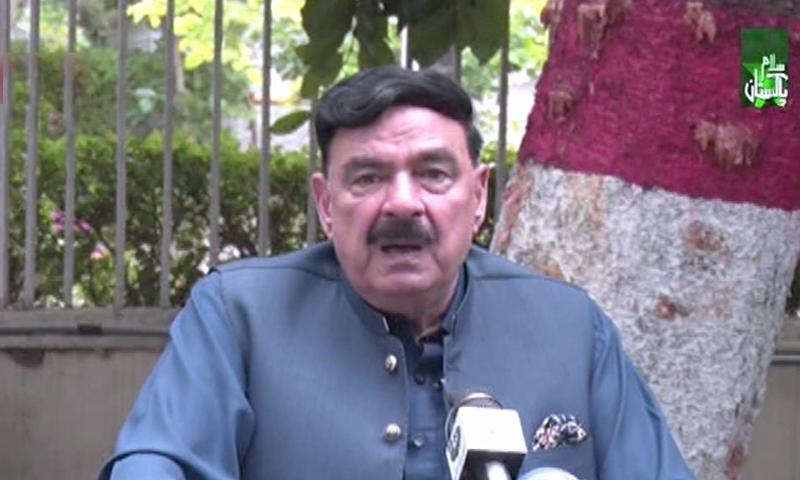Interior Minister Sheikh Rashid Ahmed speaks to the media in Islamabad on Wednesday. — DawnNewsTV