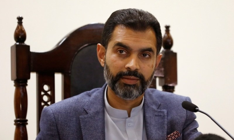 In this 2019 file photo, Reza Baqir, Governor of the State Bank of Pakistan (SBP), takes a question from a reporter (not pictured) during a news conference at the head office in Karachi. — Reuters/File