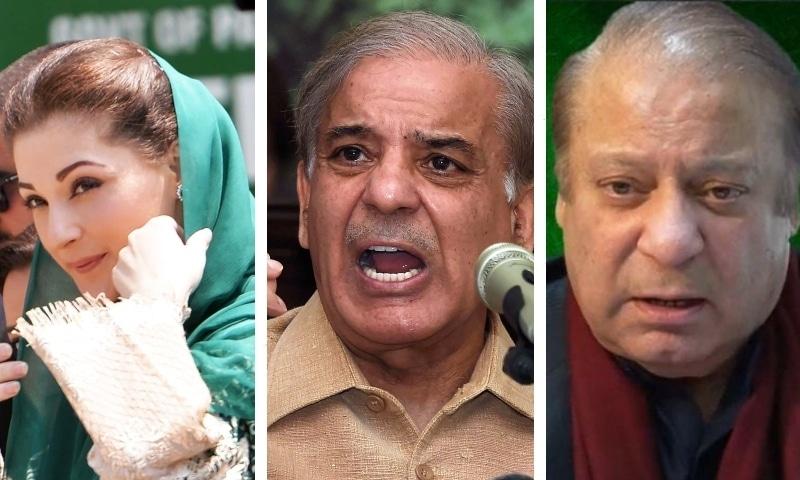 This combo photo shows PML-N Supremo Nawaz Sharif (right), PML-N President Shahbaz Sharif (middle) and PML-N Vice President Maryam Nawaz. — Photos AFP/DawnNewsTV
