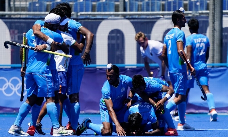 India players celebrate after defeating Germany 5-4 during the men's field hockey bronze medal match at the 2020 Summer Olympics on August 5. — AP