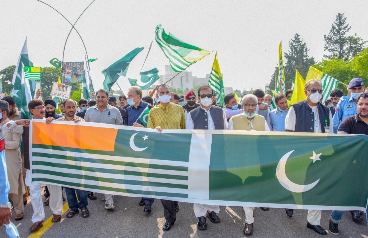 """Pakistan Tehreek-i-Insaf leaders take out a rally outside the Parliament House in Islamabad to condemn India's """"barbarism and violence"""" in occupied Kashmir. — Photo courtesy PTI Twitter"""