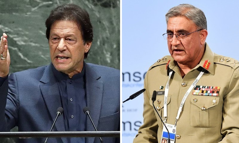 A combination photo of Prime Minister Imran Khan (L) and Chief of the Army Staff General Qamar Javed Bajwa (R). — AFP/File
