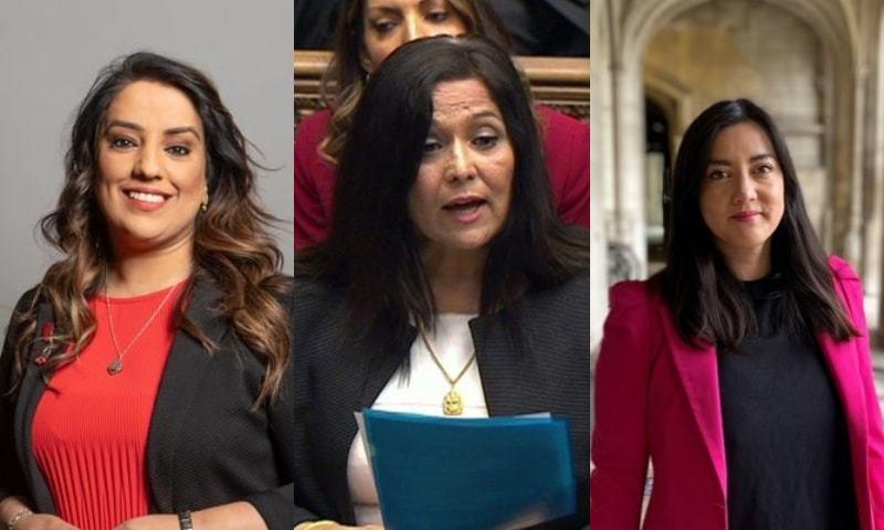 ایم پی ناز شاہ، یاسمین قریشی اور سارا اوون - تصویر بشکریہ: ناز شاہ اور سارہ اوون ٹوئٹر اور بی بی سی