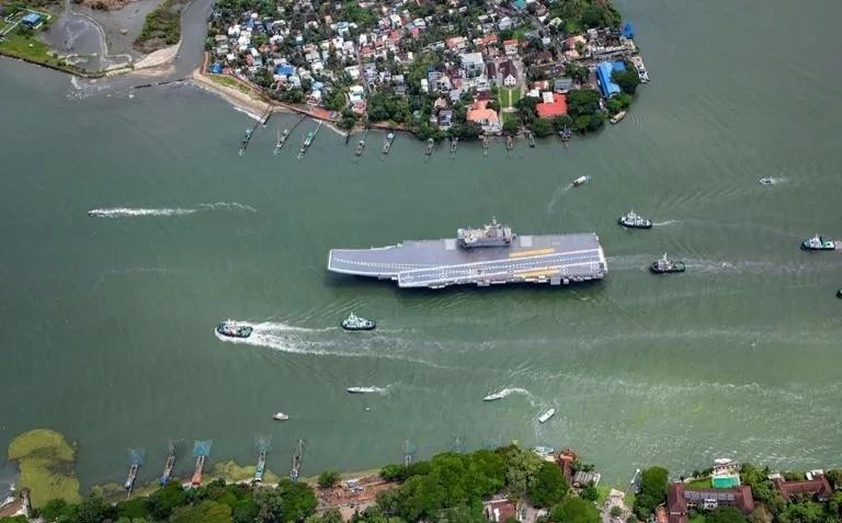 The 262-metre (860-foot) INS Vikrant began trials off Kerala on August 4. — AFP