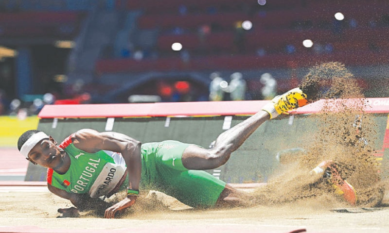 PORTUGAL'S Pedro Pablo Pichardo competes in the men's triple jump final at the Olympic Stadium on Thursday.—AFP