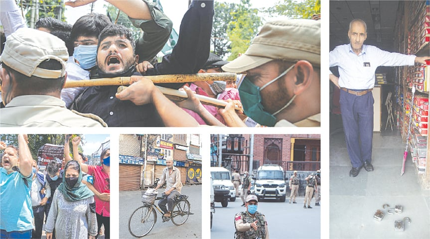 (Clockwise) Activists of the Peoples Democratic Party scuffle with the police during a protest in Jammu on Thursday to mark the second anniversary of the Indian government's move to strip occupied Kashmir of its special status. Ghulam Mohideen, a shopkeeper in Srinagar, shows locks broken by the police. Indian policemen patrol near a market during a strike. An elderly man pedals his bicycle through a closed market during the strike. Mehbooba Mufti (centre), a former chief minister of India-held Kashmir, and her party's supporters march on a street in Srinagar.—AP / AFP