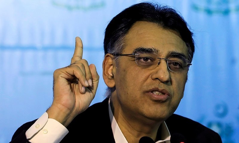 In this file photo, Planning, Development and Special Initiatives Minister Asasd Umar gestures during a news conference in Islamabad. — Reuters/File