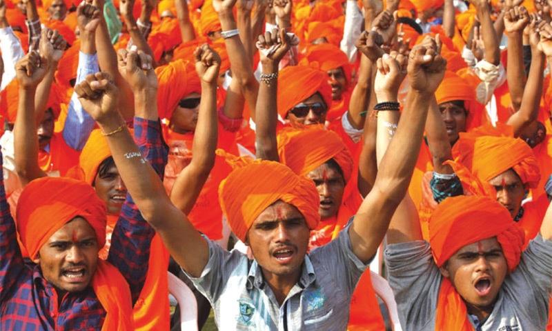 A sea of saffron-coloured turbans as at a Hindutva rally in India   Reuters