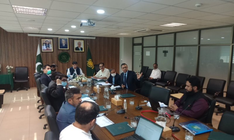 Federal Minister for IT and Telecommunication Syed Amin Ul Haque chairs the meeting of the Policy Committee of the Universal Service Fund (USF) on Saturday. — Photo courtesy IT ministry Twitter