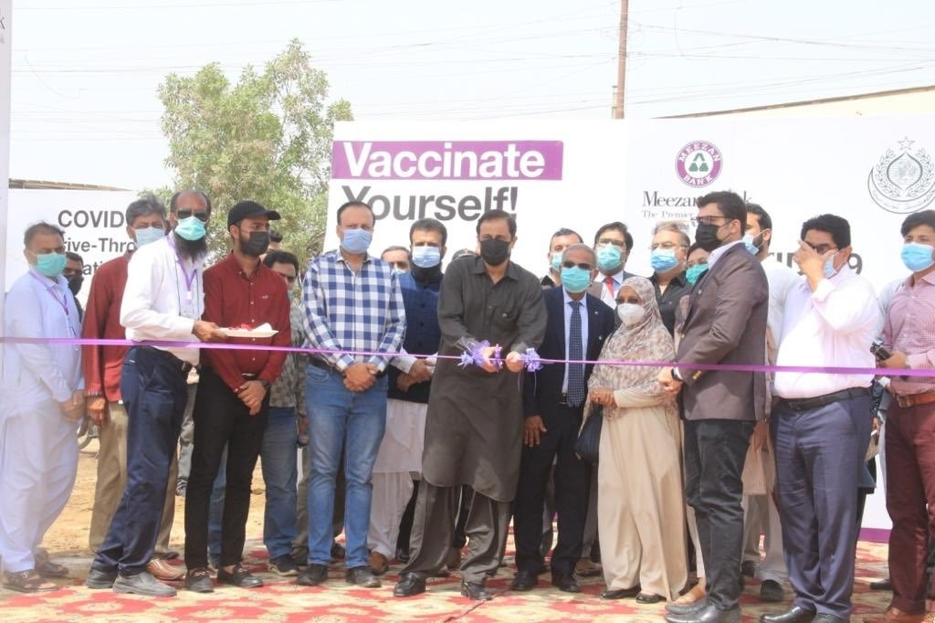 Karachi Administrator Barrister Murtaza Wahab inaugurates a drive-through vaccination centre in Federal B Area on Saturday. — Photo courtesy Twitter