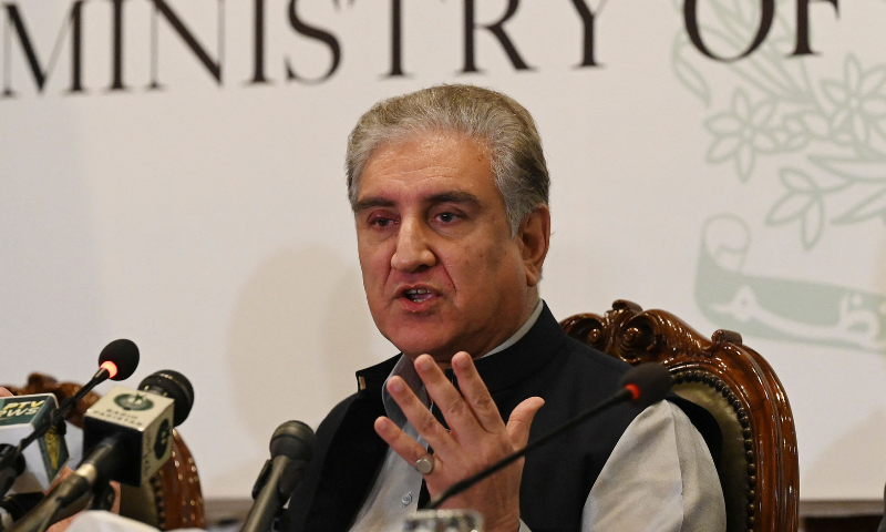 Foreign Minister Shah Mahmood Qureshi speaks during a press conference over the ongoing situation in Afghanistan at the Foreign Ministry in Islamabad on Monday. — AFP