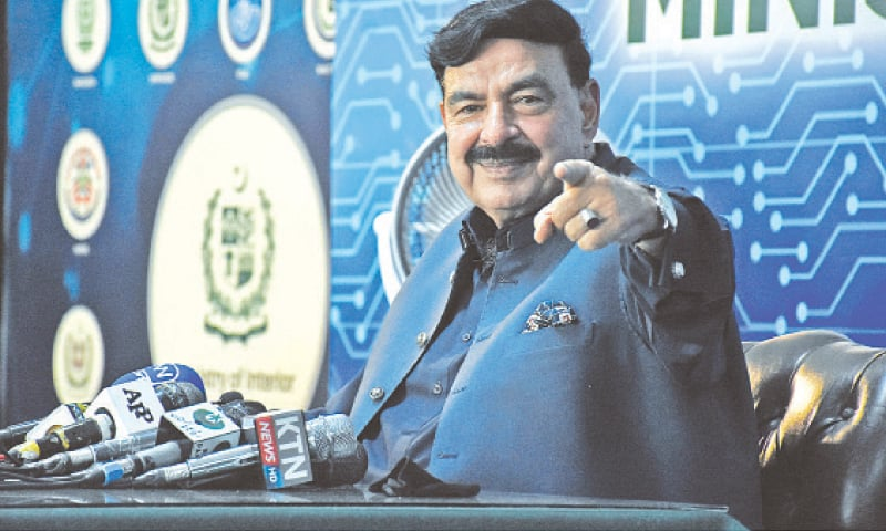 INTERIOR Minister Sheikh Rashid Ahmed addressing a press conference on Monday.—Online
