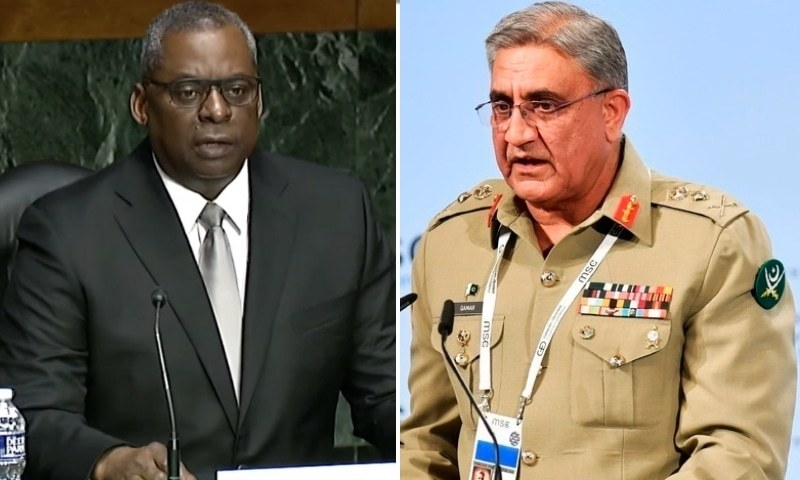 This combo photo shows US Defence Secretary Lloyd Austin (left) and Army Chief Gen Qamar Bajwa. — Photo courtesy: PBS News Hour/AFP