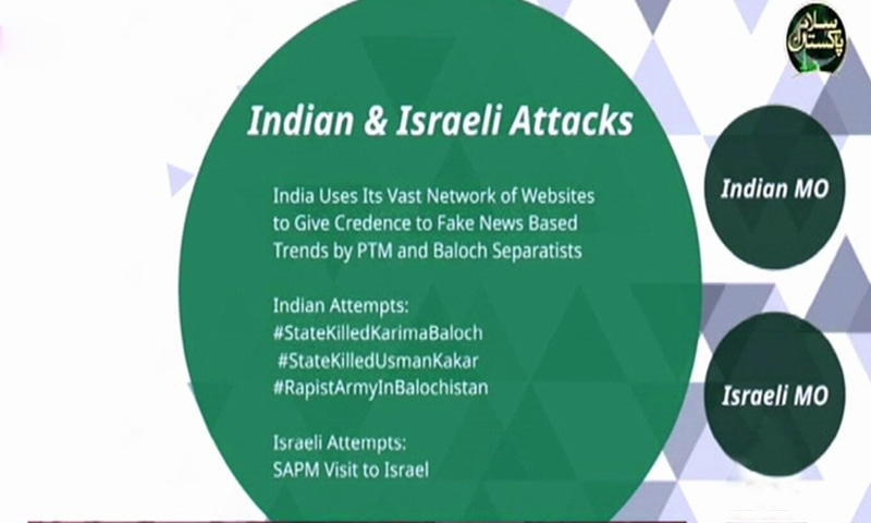 A slide shared by the information minister about Indian-Israeli propaganda.