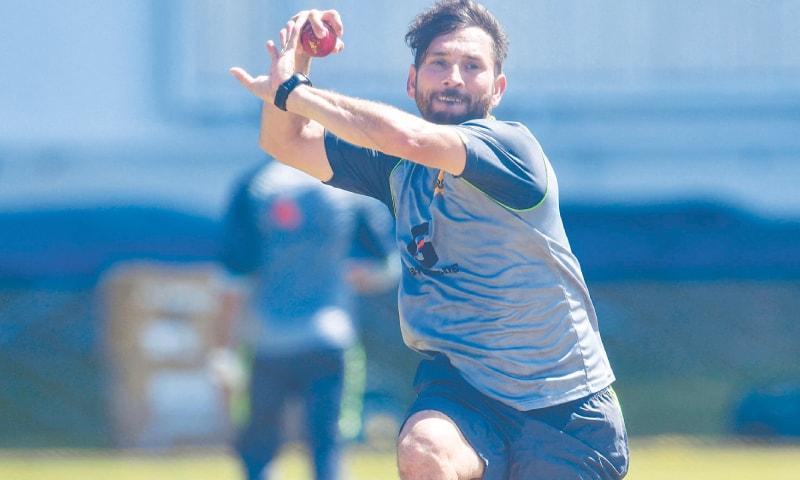 PAKISTAN spinner Yasir Shah bowls during a training session at Sabina Park.—AFP