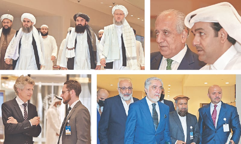 (Clockwise) Abdus Salam Hanafi (right), who heads the Taliban delegation, walks down a hotel lobby in Doha before the talks on Thursday. US special envoy Zalmay Khalilzad with Qatar's representative Mutlaq al Qahtani at the hotel, the venue for the negotiation. Abdullah Abdullah (third right), the Afghan government's top negotiator, heads to the foyer. (Left to right) Jasper Wieck, Germany's special envoy for Pakistan and Afghanistan, in conversation with Tomas Niklasson, the European Union's envoy, at the hotel.—AFP
