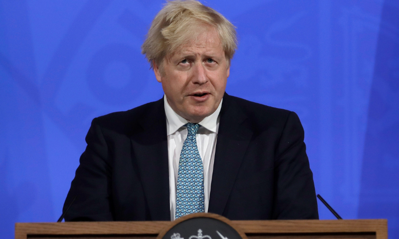 Britain's Prime Minister Boris Johnson speaks at a news conference in London. — Reuters/File