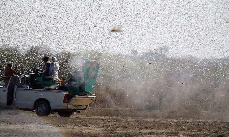 This file photo shows a truck spraying an anti-locust solution in Pakistan. — APP