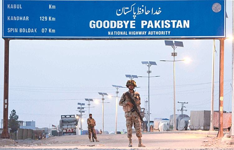Security guards pictured at the Pakistan-Afghanistan border near Chaman in this file photo. — INP
