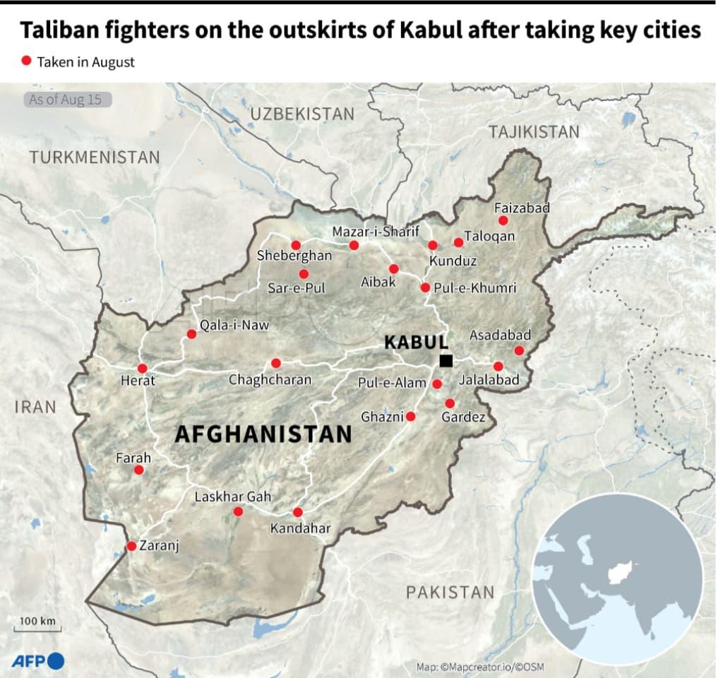 طالبان کے کنٹرول والے صوبائی دارالحکومت—نقشہ: اے ایف پی
