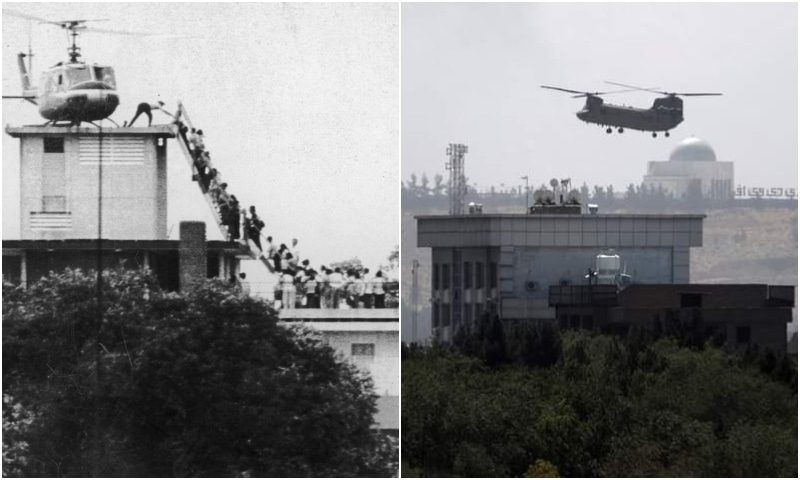 This combination photo shared by Human Rights Minister Shireen Mazari shows Americans being evacuated by helicopters in Vietnam's Saigon in 1975 (left) and Kabul in Afghanistan (right) this week. — Photos courtesy: Shireen Mazari Twitter
