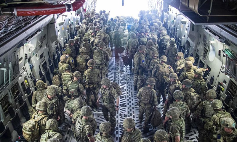In this photo provided by the Ministry of Defence on Sunday, members of the 16 Air Assault Brigade arrive in Kabul as part of a 600-strong UK-force sent to assist with Operation PITTING to rescue British nationals in Afghanistan amidst the worsening security situation there. — AP