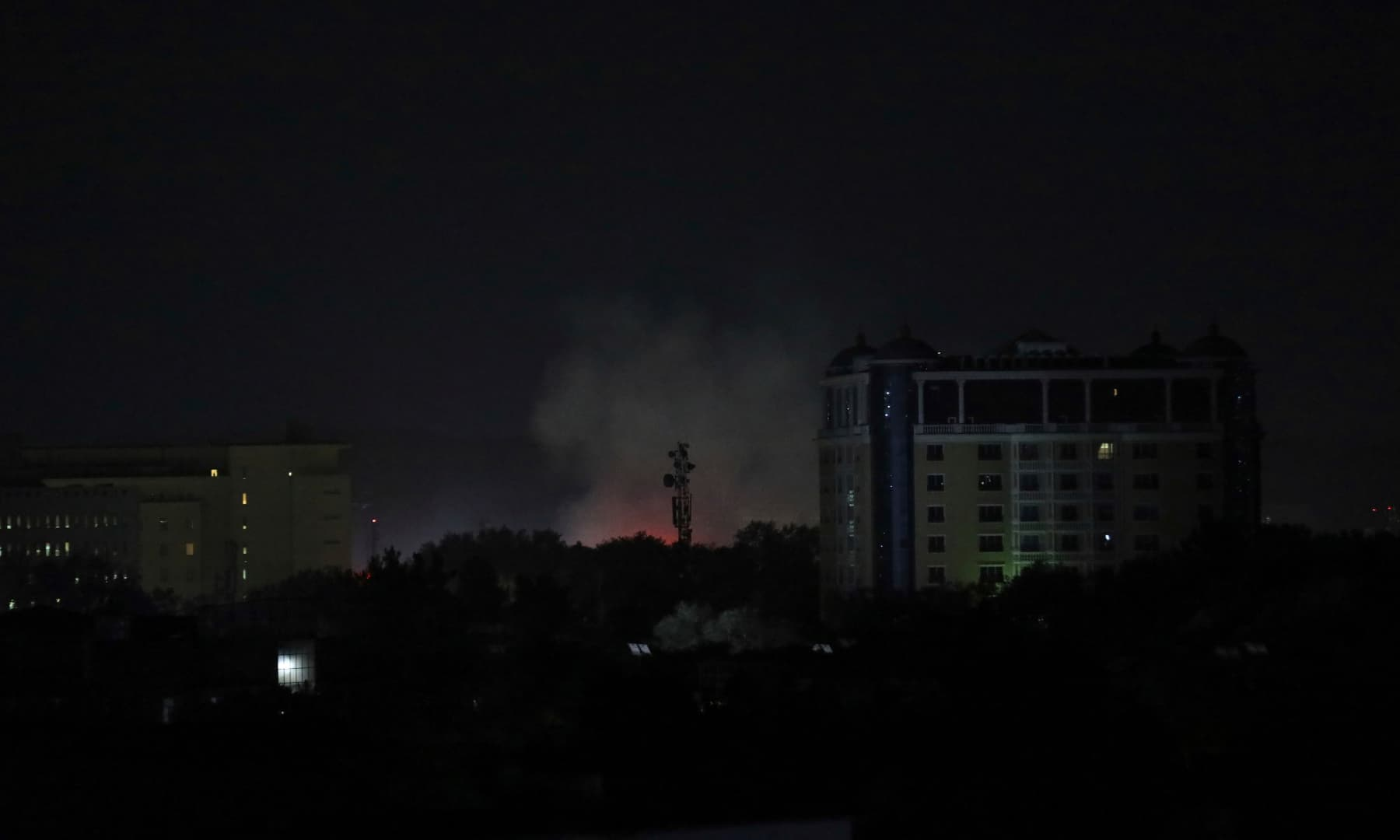 Smoke rises next to the US Embassy in Kabul, Afghanistan on August 15, 2021. — AP