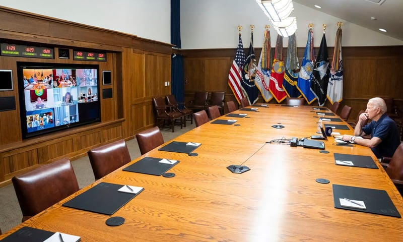 In this photo released by the White House, President Joe Biden meets virtually with his national security team and senior officials for a briefing on Afghanistan on Aug 15 at Camp David, Maryland, US. — AP
