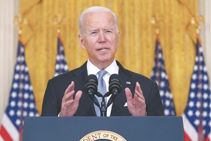 President Joe Biden speaks from the White House.—AP