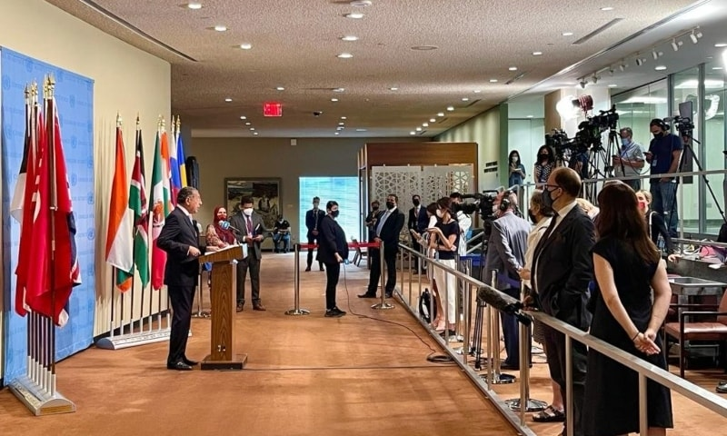 """The Indian denial """"is most regrettable"""", said Pakistan's permanent representative at the UN Munir Akram while addressing a news briefing in New York. — Photo courtesy: Radio Pakistan"""