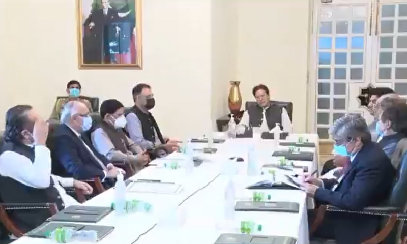 A screengrab showing Prime Minister Imran Khan chairing the meeting in Islamabad, where he reviewed and approved the draft Local Government Act.  — Photo courtesy Prime Minister's Office Twitter