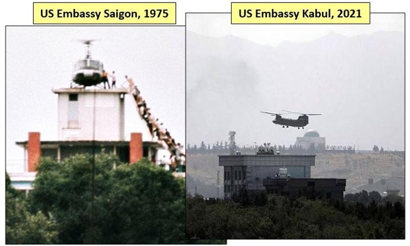 کابل ایئرپورٹ اور سائیگون ایئرپورٹ پر امریکی انخلا کے بعد کے مناظر— تصویر بشکریہ ٹوئٹر